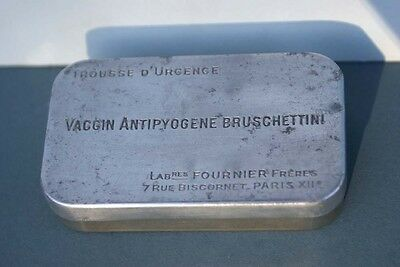 Antique French Paris Engraved Metal Medical Pill Box c1930 Nurse Doctors Gift