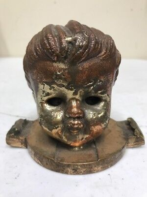 Antique Baby Doll Factory Mold Head Cast Bronze Brass Metal Creepy