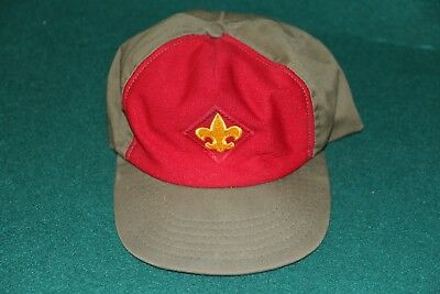Vintage Bsa Boy Scouts Of America Green/red Twill Cap Size Med-Large Snap Back