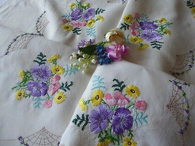 Vintage Hand Embroidered  Linen Tablecloth - Mimosa & Anemones - Exquisite