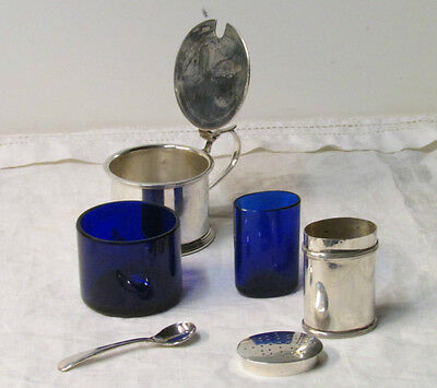 Antique Edwardian Sterling Silver Mustard Pot & Salt Shaker w/Cobalt Blue Jars