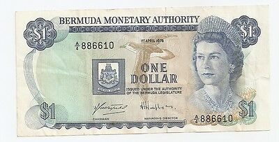 1978 Bermuda Monetary Authority One Dollar Bank Note ~ A/4 886610