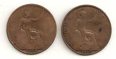 1917 & 1919 - Great Britain One Penny Coin - Bronze Coins