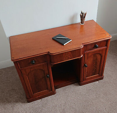Victorian mahogany twin pedestal desk/writing desk with drawers and cupboards