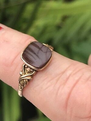 Ladies Antique Victorian 10k Gold Square carnelian gem ring size 7