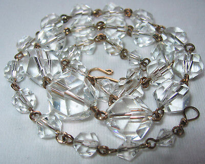 Beautiful Vintage Art Deco Clear Crystal Glass Beads R Gold Chain Links Necklace