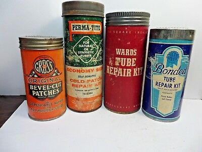 4 Vintage Rubber Tube Repair Tire Patch Kits Cans Tins Wards,bonded,gross,perm-