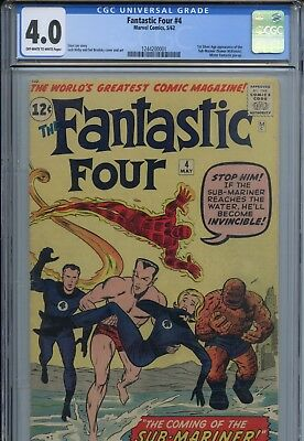Fantastic Four #4 CGC 4.0 OW/W Pages 1st Silver Age App the Sub Mariner