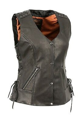 Milwaukee Leather XL Snap Front Vest w/Lacing Detail PERFECT FOR STURGIS!!!!