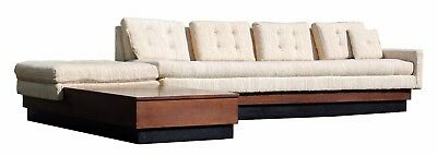 Mid Century Modern 2 Piece Sectional Sofa Black Plinth Base Pearsall Style