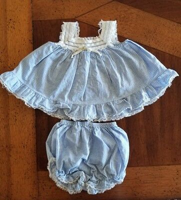 Vintage Baby Blue & White Gingham Sleevless Swing Top with Bloomers 12 monthS