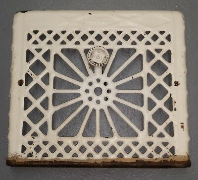 "Antique Vintage Wall Vent Cover Jones Heat Register - 16"" x 14"" - Off-White"