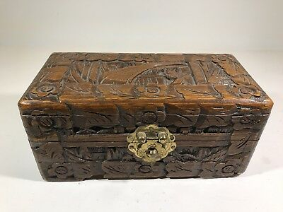 Vintage Chinese Yu Ting Good Luck Box 40s 50s Wooden Hand Carved wood brass