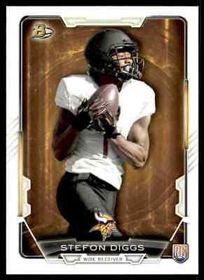Two card lot of 2015 Bowman Football Stefon Diggs Rookie Cards Minnesota Vikings