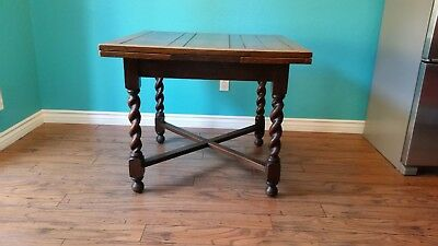 Antique English Carved Tiger Oak Barley Twist Dining Table, Jacobean Draw leaf