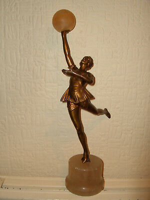 Vintage Spelter Figure With Ball Cold Painted Josef Lorenzl?