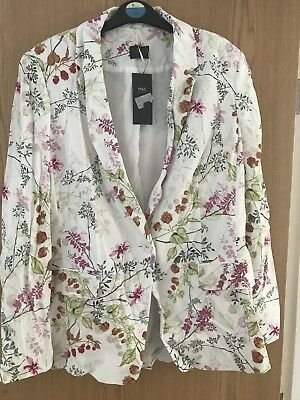 M&S White Floral Jacket Size 14