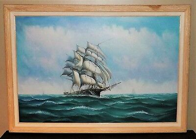 Lovely Large Oil on Canvas Clipper Ship Pirate Signed Ambrose 40 1/2 x 28 1/2