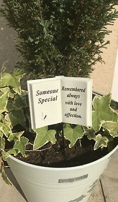 Open Book Memorial stick,Grave side Tribute spike,remembrance Someone Special