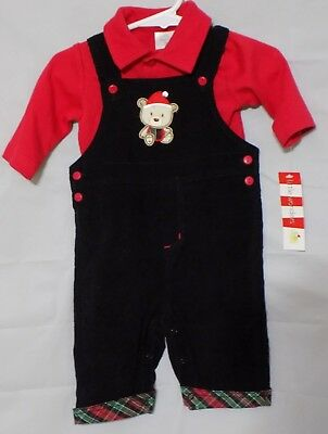 New Little Wonders Infant Boy's Red Long Sleeve Shirt Black Santa Bear Overalls