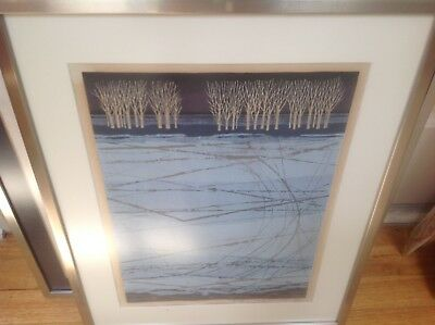 Fumio Fujita Original Woodblock Tress in winter  Signed & Numbered abstract 1977