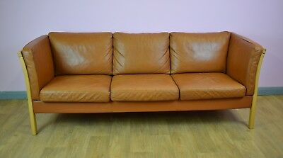 Mid Century Retro  Danish Tan Leather 3 Seat Sofa Settee Couch by Stouby 1970s