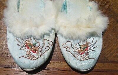 Vtg Asian Embroidered Blue Satin Slippers W/ White Fur Trim Mid Century Sz 8?