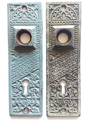 Victorian EASTLAKE Style CAST IRON Door Knob Back Plates PAIR