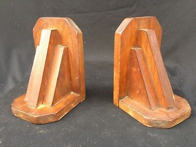 Lovely Vintage Art Deco Classic Shape Wooden Bookends