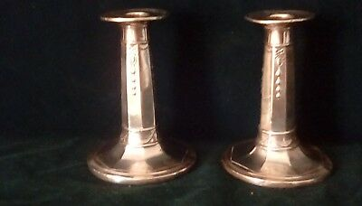 classic pair solid silver Victorian candlesticks