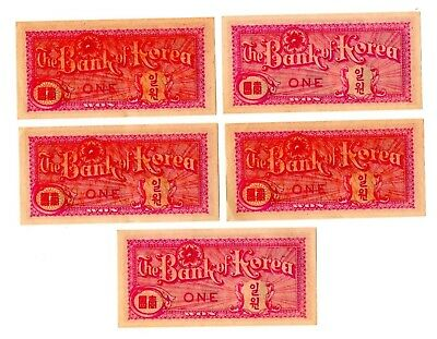 Korean One Won Banknotes From 1950s