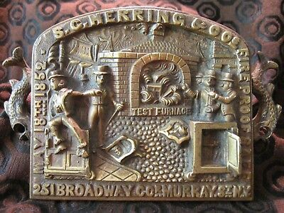 S.C. Herring antique Bronze/Brass Safe Plaque Sign 1852