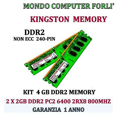 4 GB (2 X 2GB) DDR2 MEMORIA / RAM KINGSTON PC2 6400U 800MHz NONECC ALTA DENSITÀ