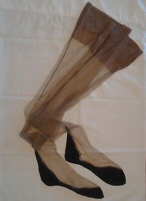 VINTAGE 1940s NYLON STOCKINGS GARTER TOP SEAMS 2-TONE BEIGE NAVY FOOT AS IS TALL