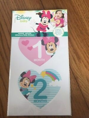 Disney Baby Girls Minnie Mouse Monthly Milestone Photo Prop Belly Stickers