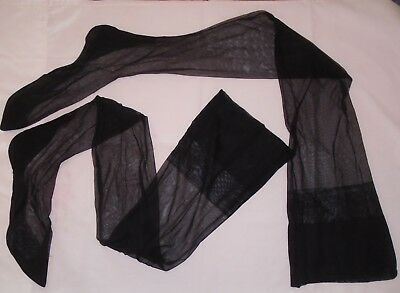 VINTAGE 1940s BLACK SHEER NYLON GARTER TOP STOCKINGS WITH SEAMS PRE-OWNED TALL
