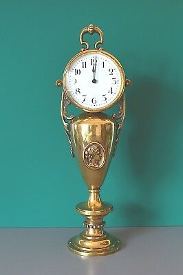 Rare Antique Victorian mantle clock. French mov't. Running, keeping time. Brass