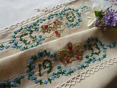 Vintage Hand Embroidered Tray Cloth - 1953 Coronation  Piece- V.good Embroidery