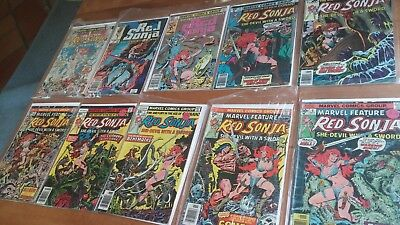 Old Red Sonja lot of TEN!  Includes #1...FRANK THORNE ART!   HOT