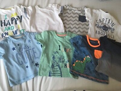 Baby Boys Tshirts 0-3mths x8 New without tags F&F, Nutmeg, Matalan
