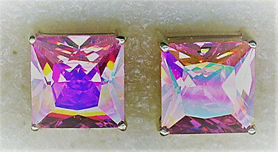 """925 Sterling Silver Pink Cubic Zirconia Large Square Stud Earrings 8mm  (1/3"""")"""