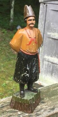 Old Vintage Painted Wooden Russian Carving of Cossack 8 Inches No Reserve