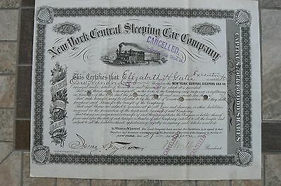 1885 New York Central Sleeping Car Company Railroad Stock Certificate WOW!!