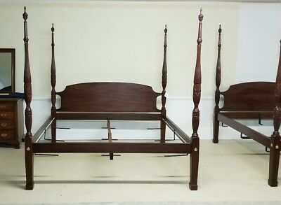 Henkel Harris King Bed Rice Carved Mahogany Poster Finish 29