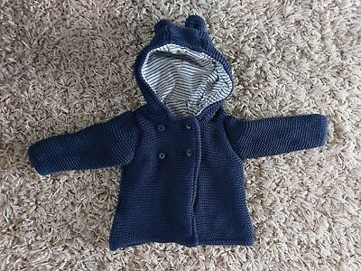 Marks And Spencer M&S Baby Boys Knitted Hooded Cardigan Jacket Navy 3-6 Months