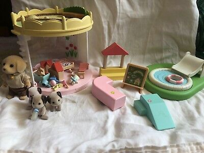 Calico Critters Playhouse, Swimming Pool/Sandbox, and Puppies