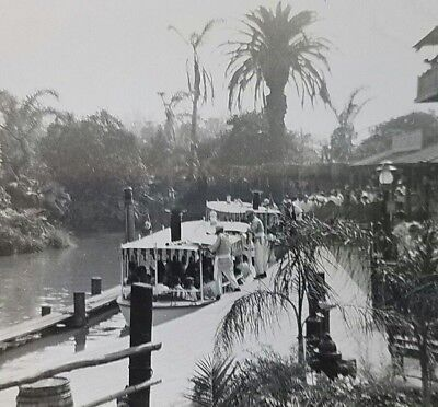 1956 Disneyland Adventureland Jungle Cruise Boarding Black & White Vintage Photo