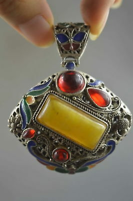 Collectable Handwork Miao Silver Carve Colorful Flower Inlay Agate Royal Pendant