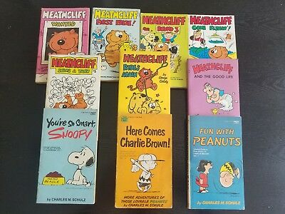 Lot of Heathcliff and Peanuts and Snoopy paperback book lot