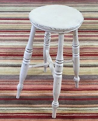 Antique Victorian Rustic Elm Country Farmhouse Stool - 19th Century - White
